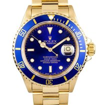 Rolex Submariner Blue Dial 18k Yellow Gold 16618