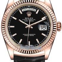 Rolex Day-Date 36mm Everose Gold Fluted Bezel 118135 Black...