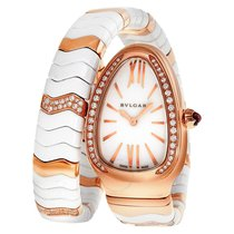 Bulgari Serpenti Spiga 35mm Rose Gold & White Ceramic