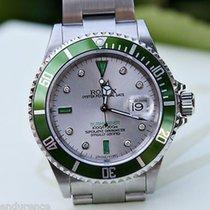 Rolex Green Submariner Mens 16610 Stainless Steel Watch...
