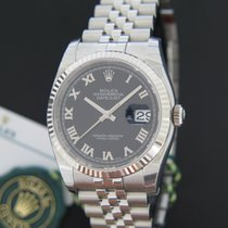 Rolex Oyster Perpetual Datejust Black Roman Dial NEW