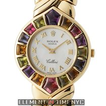Rolex Cellini 18k Yellow Gold 28mm Color Stone White Mother Of...