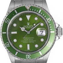 Rolex Submariner Men's Steel Watch with Green Dial &...