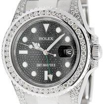 Rolex GMT-Master II Steel Diamond Bezel Black Pavé Dial 116710LN