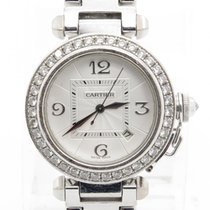 Cartier Pasha 2528 Solid 18k White Gold Ladies Watch W/...