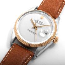 "Rolex 18K/SS Datejust Custom ""White Pearl"" Dial 36mm..."