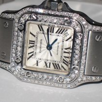 Cartier Santos Stainless Steel Automatic Date Diamonds