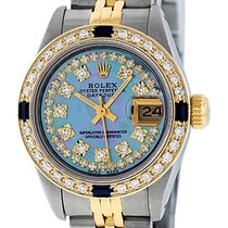 Rolex Datejust SS & 18K Yellow Gold Blue MOP Diamond Dial