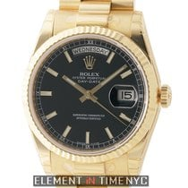 Rolex Day-Date President 18k Yellow Gold 36mm Black Stick Dial