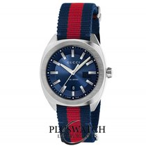 Gucci Quartz GG2570 Large  Blue Dial Red And Blue Nylon  41mm R