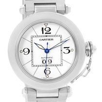 Cartier Pasha C Midsize Big Date Steel Watch White Dial W31055m7