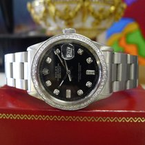 Rolex Oyster Perpetual Datejust Diamonds Black Dial Stainless...