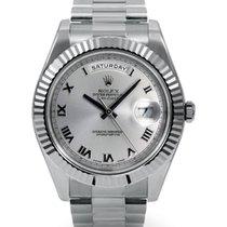 勞力士 (Rolex) Day-Date II 218239-SLVRFP 41mm Silver Roman Fluted...