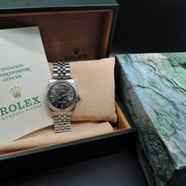 Rolex DATEJUST 1601 SS ORIGINAL Dark Grey Dial with Box and Paper