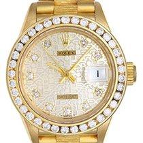 Rolex Ladies Barked President Gold Watch 69278