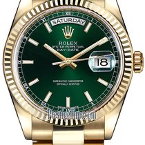 Rolex Day-Date 36mm Yellow Gold Fluted Bezel 118238 Green...