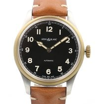 Montblanc 1858 Collection 44 Black Dial Brown Leather Strap