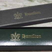 Hamilton vintage watch box green leather with tag newoldstock