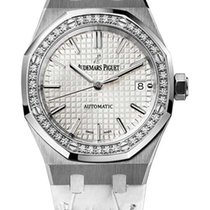 Audemars Piguet Royal Oak Stainless Steel Diamond Leather...
