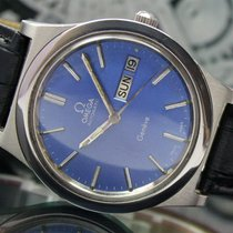 Omega Geneve Blue Dial Automatic Quick Day Date Steel Mens Watch