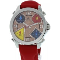 Jacob & Co. Five Time Zones SS Red Strap W/ Box