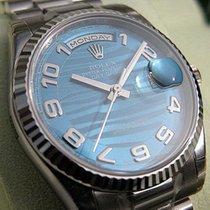 Rolex Day-date President 118239 Mens 18k White Gold Blue Waves...