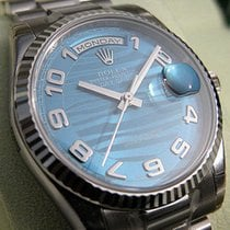 Rolex Day-date President 118239 Mens 18k White Gold Blue Waves...