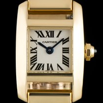 Cartier 18k Yellow Gold Silver Roman Dial Tankissime Ladies...