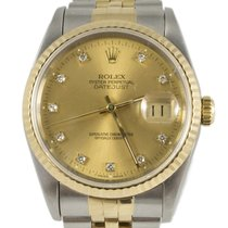 Rolex Datejust 16233 Gold Steel 1991 Gold Dial 36mm Diamond