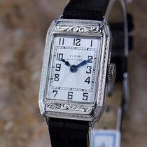 Elgin Rare 1920 USA Ladies White Gold Plated Luxury Mechanical...