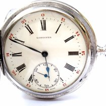 Longines Antique Pocket Watch Hunter Savonette 51mm Solid...