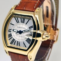 Cartier Roadster 18k Yellow Gold Silver Dial Brown Strap...