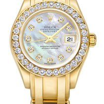 Rolex Lady-Datejust Pearlmaster Papers MOP 18k Gold 80298