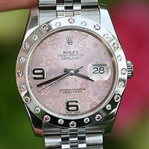 Rolex Ladies Mens 36mm Datejust Pink Rose Floral Dial Diamond...