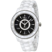 Dior VIII Black Dial Diamond White Ceramic Ladies Watch
