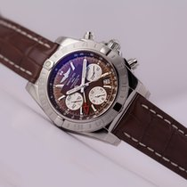 Breitling Chronomat 44 GMT Brown Dial Alligator Strap white...