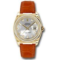 Rolex Datejust 36mm - Gold Yellow Gold - Diamond Bezel - Leather