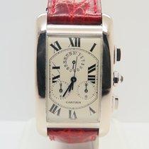 Cartier Tank Américaine chronograph 18k White Gold (Box&Pa...