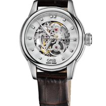 Oris Artelier Skeleton Diamonds 31mm Brown Leather Bracelet
