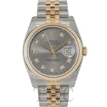 Rolex Datejust Grey Steel/18k gold Dia Jubilee Ø36mm - 116233