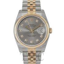 Rolex Datejust Grey Steel/18k gold Dia Jubilee Ø36mm - 116233 G