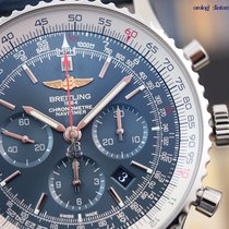 Breitling Navitimer 01 46mm Steel on Leather Aurora Blue Face