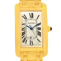 Cartier Tank Americaine 18k Yellow Gold Automatic Mens Watch...