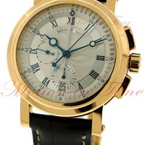 Breguet Marine II Chronograph, Silver Dial - Yellow Gold on Strap