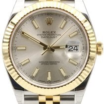 Rolex Datejust 41 126333 Silver Index Fluted Yellow Gold...