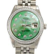 Rolex 1601 DateJust Custom Green MOP Diamond Dial & Bezel