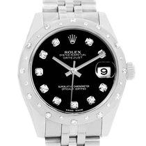 Rolex Datejust Midsize Black Dial Steel Diamond Watch 178344...