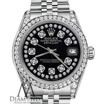 Rolex Datejust 26mm Stainless Steel Glossy Black String...