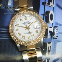Rolex Datejust 18k Yellow Gold/Steel Diamond Bezel White Dial...