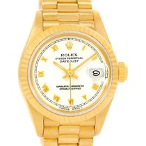 Rolex President Datejust Yellow Gold White Roman Dial Ladies...